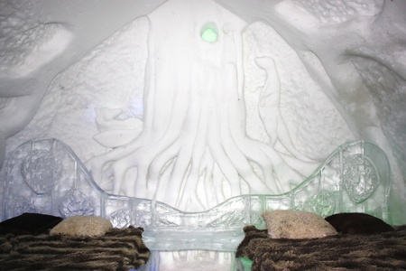QUEBEC, CANADA- FEBRUARY 20, 2011:  One of the bedrooms in the famous ice hotel in Quebec city, Canada. Stock Photo - 8944876
