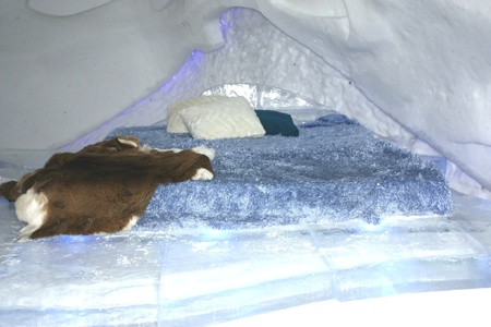 QUEBEC, CANADA- FEBRUARY 20, 2011:  One of the bedrooms in the famous ice hotel in Quebec city, Canada.