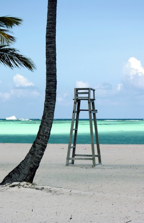 caribbeans: lifeguard chair on perfect deserted beach