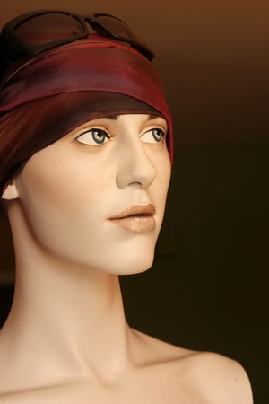 female mannequin wearing head scarf. Bohemian look. photo