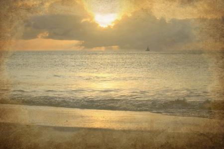 caribbeans: stunning sunset over ocean