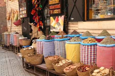 spice: Marrakesh souk in the medina Stock Photo