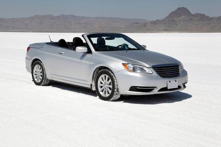 Luxury Car at Bonneville Salt Flats Editorial