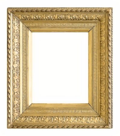 mirror image: Gold frame for paintings, mirrors or photos Stock Photo