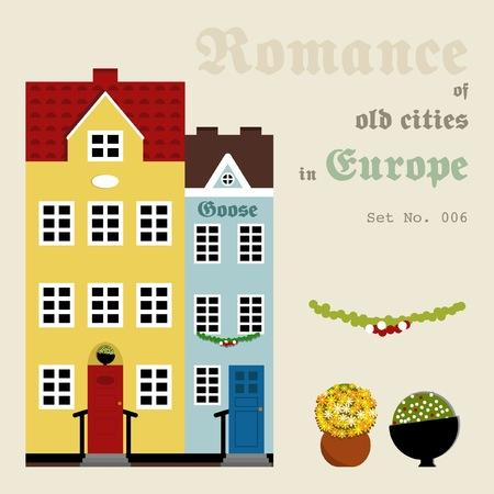 Set of images of medieval houses Illustration