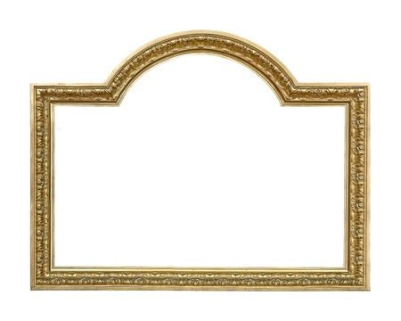Golden frame for paintings, mirrors or photo Фото со стока