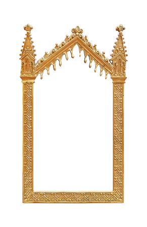 Golden frame isolated on white background Stock Photo
