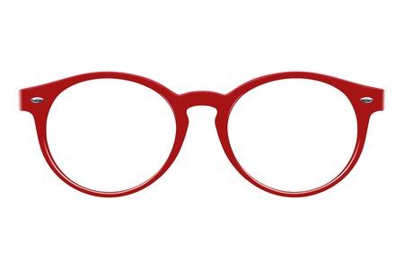 Brille lokalisiert auf weißem Hintergrund zum Aufbringen auf ein Porträt Standard-Bild