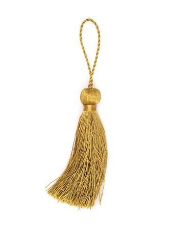 Gold silk tassel isolated on white background 版權商用圖片