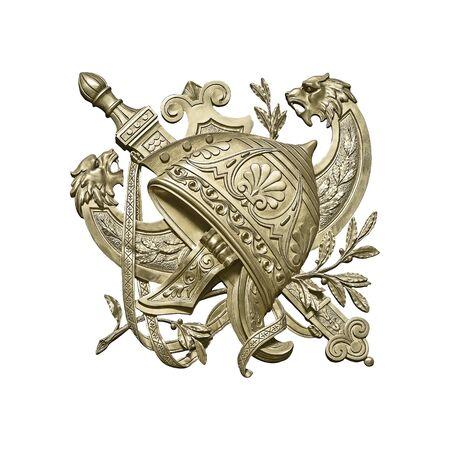 Golden decorative element of the helmet.