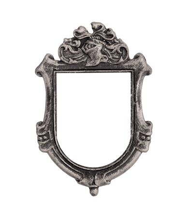 Silver gothic frame for paintings, mirrors or photos. Design element with clipping path