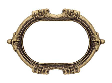 Marco gótico dorado para cuadros, espejos o fotografías. Elemento de diseño con trazado de recorte.