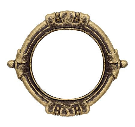 Golden gothic frame for paintings, mirrors or photos. Design element with clipping path