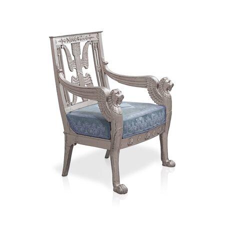 Sedia d'argento antica isolata su priorità bassa bianca. Elemento di design con tracciato di ritaglio Archivio Fotografico
