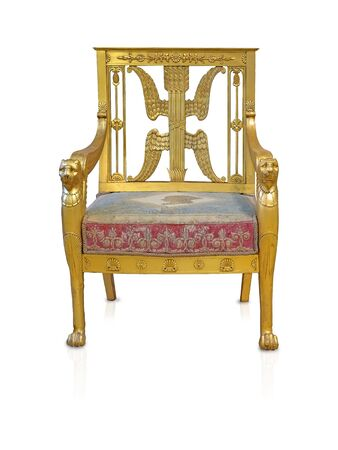 Ancient golden chair isolated on white background. Design element with clipping path