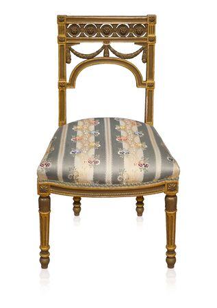 Gouden stoel geïsoleerd op witte achtergrond Stockfoto