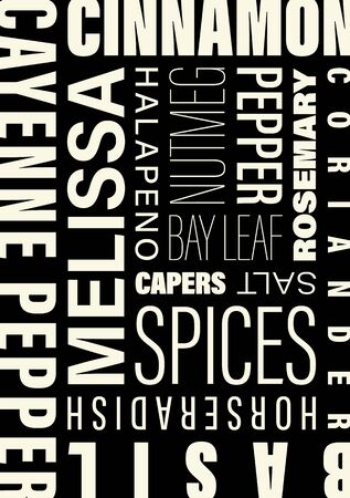 Graphic concept with the names of spices for cooking (word cloud) Ilustração