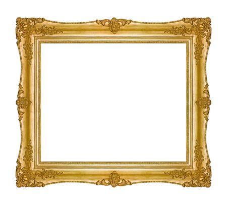 Marco dorado para cuadros, espejos o foto aislado sobre fondo blanco. Elemento de diseño con trazado de recorte.