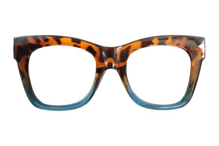 Brille isoliert auf weißem Hintergrund für die Anwendung auf einem Porträt.