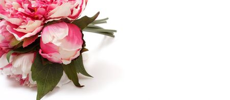 Decorative bouquet of pink peonies isolated on white background