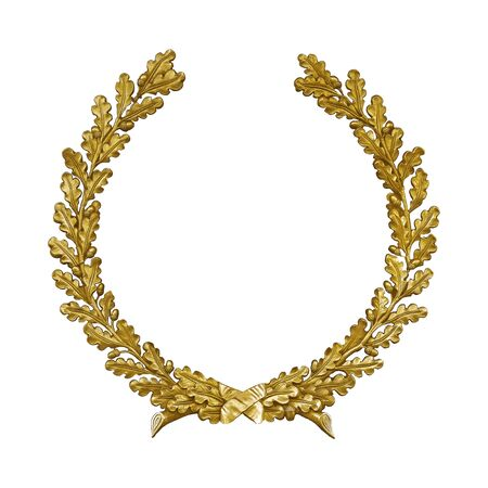 Golden decorative wreath isolated on white background. Reklamní fotografie