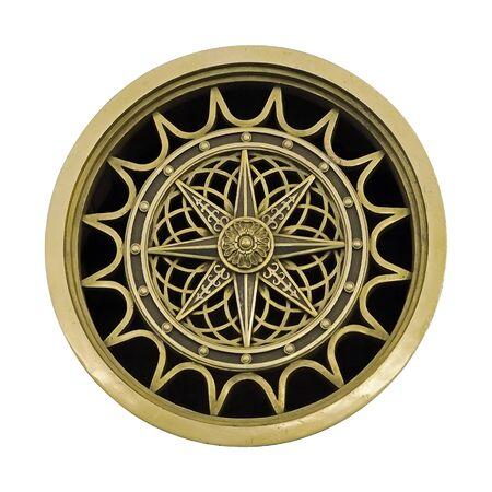 Elemento decorativo dorado (rosa de los vientos) aislado sobre fondo blanco. Foto de archivo