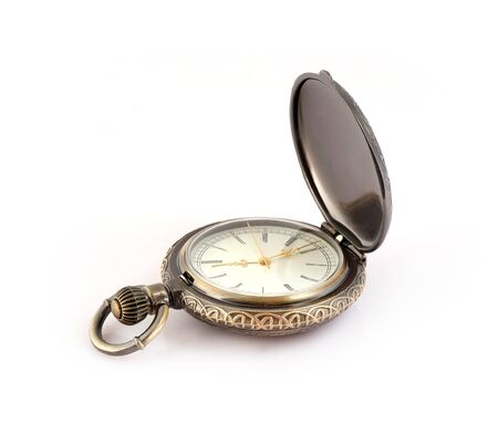 Pocket watch isolated on white background Stock Photo