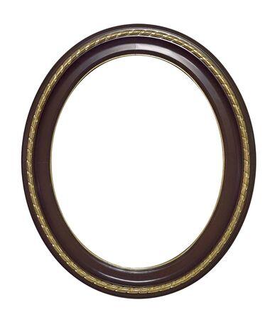 Drewniana ramka na obrazy, lustra lub zdjęcie na białym tle