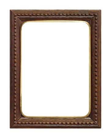 Houten frame voor schilderijen, spiegels of foto geïsoleerd op een witte achtergrond Stockfoto