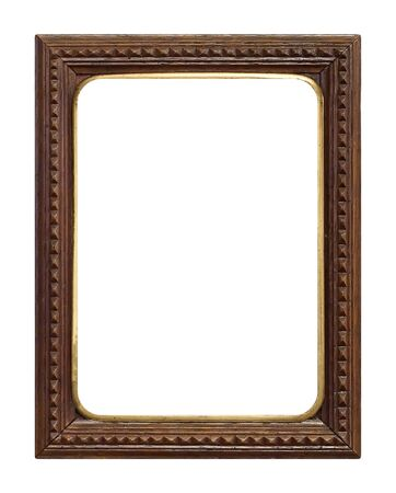 Marco de madera para cuadros, espejos o foto aislado sobre fondo blanco. Foto de archivo