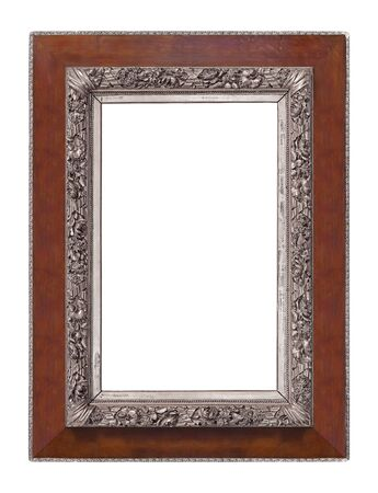 Wooden frame for paintings, mirrors or photo isolated on white background