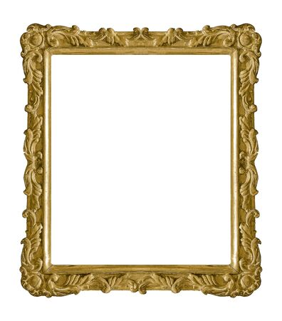 Golden frame for paintings, mirrors or photo isolated on white background. Design element with clipping path 版權商用圖片