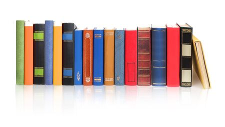 Stack of books isolated on a white background Archivio Fotografico