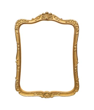 Golden frame for paintings, mirrors or photo isolated on white background. Foto de archivo