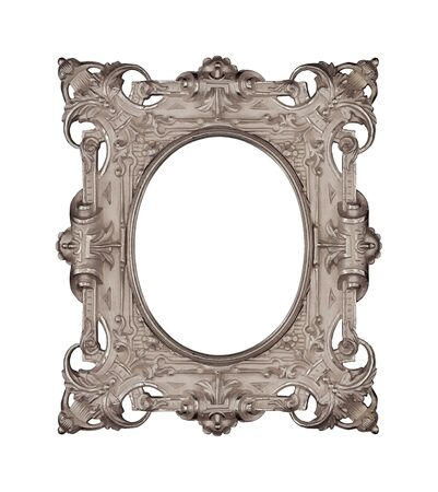 Silver frame for paintings, mirrors or photo isolated on white background.