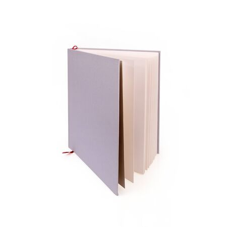 Book in color cover with white sheets isolated on a white background