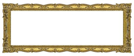 Panoramic golden frame for paintings, mirrors or photo isolated on white background.