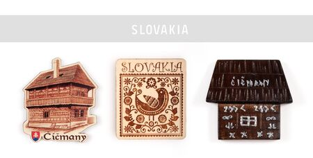 """Souvenir (magnet) from Slovakia isolated on white background. The inscription on the magnet Slovak village name means """"Tchitchmany"""" Zdjęcie Seryjne"""