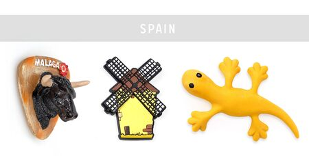Souvenirs (magnets) from Spain isolated on white background 写真素材 - 149490192