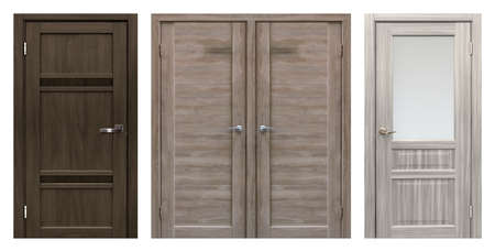 Set of entrance doors (Interior wooden doors) isolated on white background
