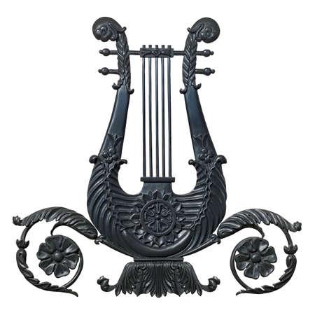 Black harp isolated on white background.