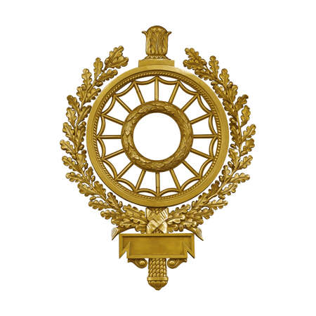 Golden decorative wreath (frame) isolated on white background.