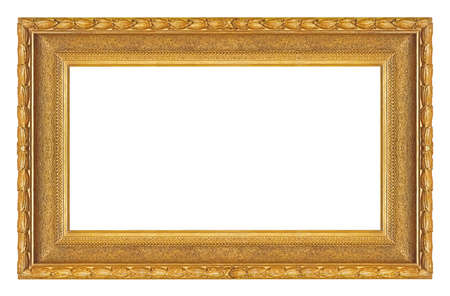 Panoramic golden frame for paintings, mirrors or photo isolated on white background. 免版税图像