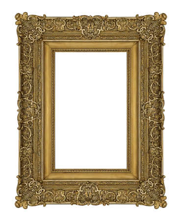 Golden frame for paintings, mirrors or photo isolated on white background. 免版税图像