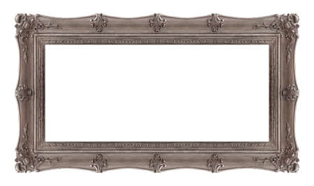 Panoramic silver frame for paintings, mirrors or photo isolated on white background. 免版税图像