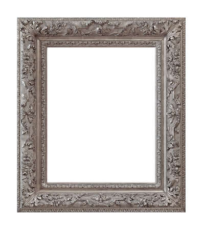Silver frame for paintings, mirrors or photo isolated on white background. 免版税图像