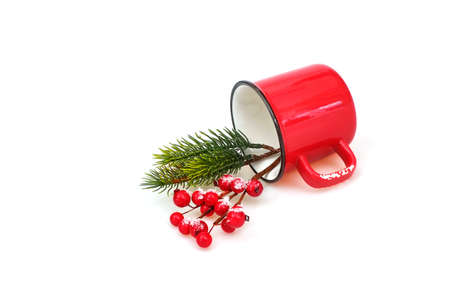 Mockup: Christmas composition with a red mug isolated on a white background