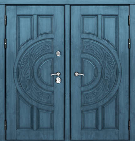 Model of double entrance metal doors isolated on white background Stockfoto