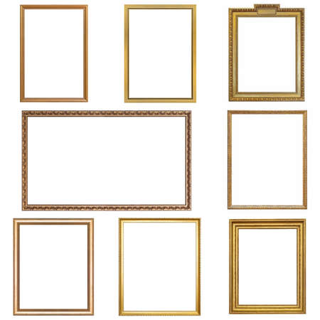 Set of golden frames for paintings, mirrors or photo isolated on white background Zdjęcie Seryjne