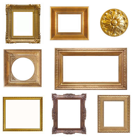 Set of golden and wooden frames for paintings, mirrors or photo isolated on white background